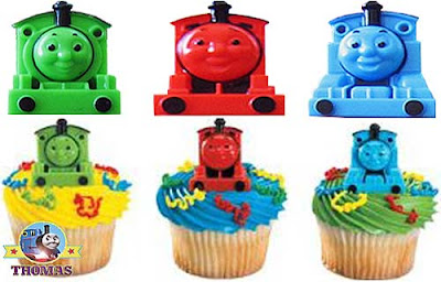 Kids birthday party Thomas the tank engine cupcake topper rings with Percy and James the red engine