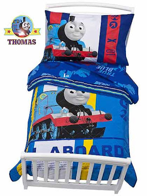 Colorful childrens eye catching themed bedroom Thomas the train bed little tikes bedding toddler set