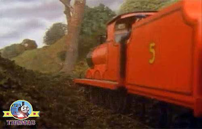 By some fairy magic suddenly the tree jolted forwards help cried frightened James the red engine