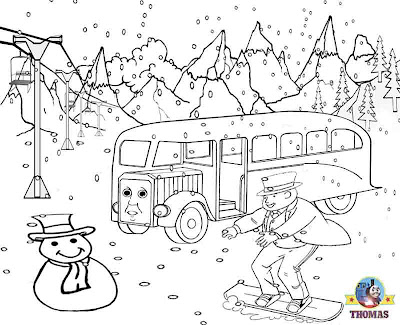 Free printable Christmas ski vacation winter pictures of Thomas and friends colouring pages for kids