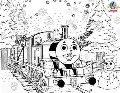 Online free printable Thomas tank snowman Christmas colouring pages for kids snow winter pictures