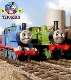 Thomas the tank engine Annie and Clarabel the faithful carriage coaches were going to the big city