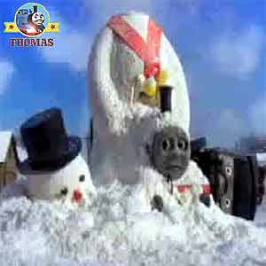 Thomas and friends Oliver the train sliding into Christmas holiday childrens winter snowman display