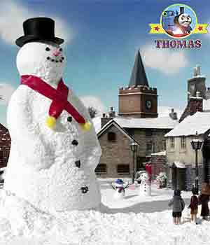 Oliver the great western engine saw children building a gigantic frosty the snowman display figure