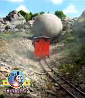 Speeding Bolder rounded a bend head was narrow gauge railway engine Rheneas the roller coaster ride