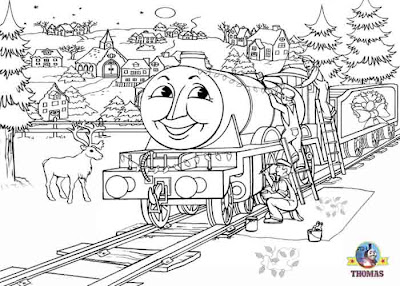 Online printables happy Henry Thomas the tank engine colouring pages for kids free winter pictures