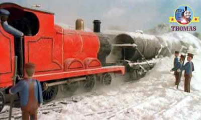 Thomas and friends James the red engine wheels were sliding and slipping on the winter icy tracks