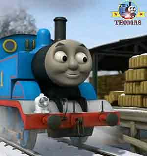 Thomas the tank engine and the snowman party hat Thomas train at farmer McColl frozen farm yard