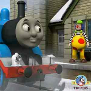 Tank Thomas Annie and Clarabel rushed to Marthwait station Mr Bubbles looking for a clown magic hat