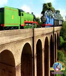Fat Controller engines Thomas the train Percys chocolate crunch misty island of Sodor Viaduct Bridge
