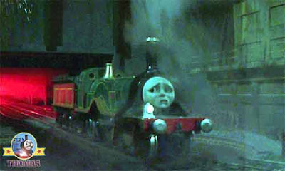 Thomas and friends Emily the green engine at Island of Sodor Ironworks traveling on her new route