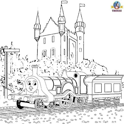 free online Thomas the train Emily the tank engine and Scottish castle coloring pages for kids art
