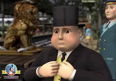 Thomas the train the lion of Sodor DVD Sir Topham Hatt with the extremely famous lion statue figure