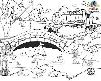 printable Train Thomas Henry the tank engine and the water wildlife birds coloring pages for boys