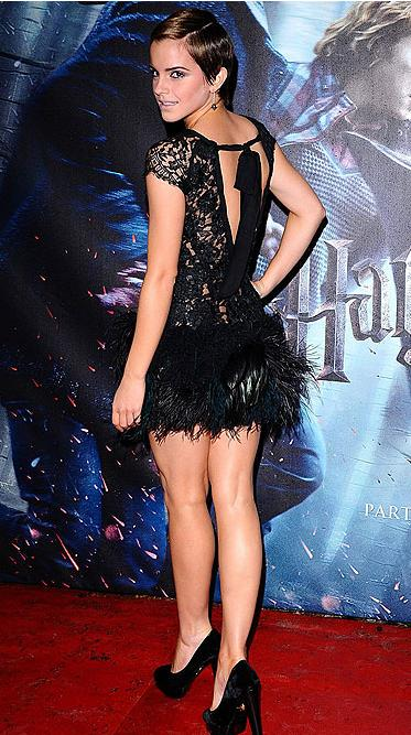Actress Emma Watson looked absolutely stunning in a short black lace dress