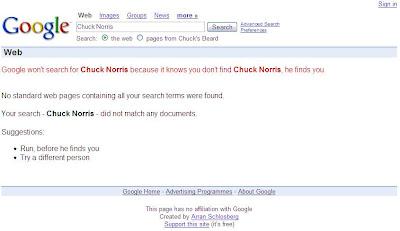 Google won't search for Chuck Norris because it knows you don't find Chuck Norris, he finds you. Google no buscará a Chuck Norris porque sabe que tu no encuentras a Chuck Norris, es él quien te encuentra a ti.