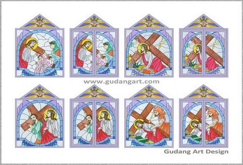 """Desain Kaca Patri Gereja """"Jalan Salib"""""""