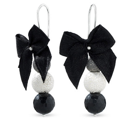 Black and White Sterling Silver Satin Bead Dangle Earrings with Black Ribbon Bow
