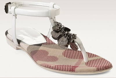 Burberry Check Hearts Print T-Strap Thong Sandal