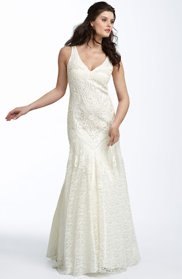 Sue Wong Drop Waist Lace Gown