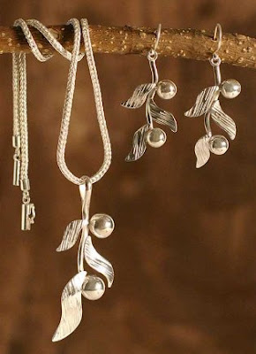Coffee Tree Sterling Silver Jewelry Set