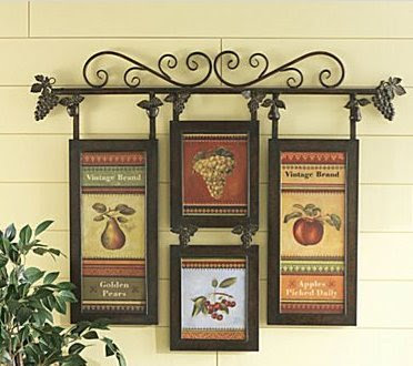 Hanging Vintage Fruit Wall Collage