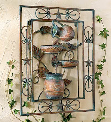 Iron and Ceramic Wall Fountain