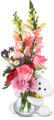 Teleflora Bear Hug Bear with Pink Rose