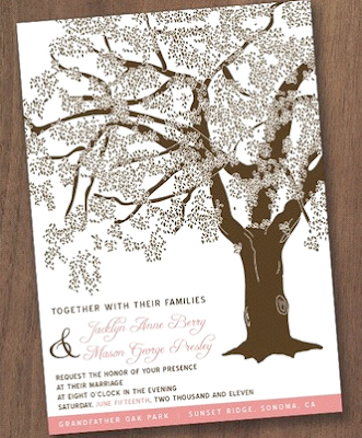 100 Grandfather Oak Tree Wedding Invitations Customized by vohandmade