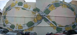 MOEBIUS STRIP MURAL IN PARKING LOT IN PRAGUE