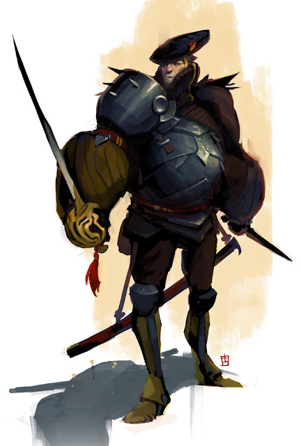 Captain of the night watch, character concept inspired by renaissance costumes, wielding a rapier and a short stiletto dagger