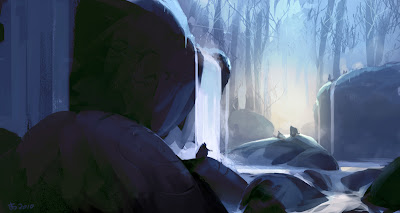 Speed painting depicting a group of primitive figures, near some waterfalls in a winter scenery of huge carved boulders, with a forest as background