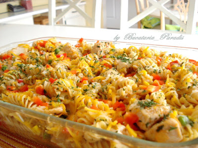 ... , Recipes &Cooking: CHEESY CHICKEN & SALSA SKILLET (cu rotini pasta