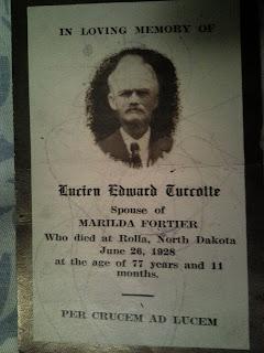memorial card 1928