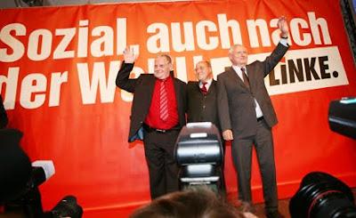 Sol Parti liderleri Lothar Byski, Gregor Gysi, Oskar Lafontaine