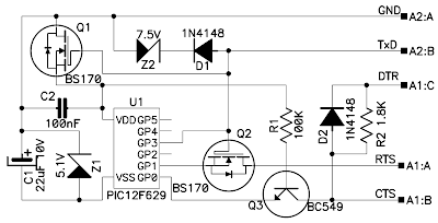 The problem to solve for programming the PIC12F629 without external power supply is to build 2 supply voltages (+5...