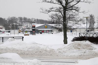 Olofström, Blekinge, snö, vinter, snow, winter, bussterminal, resecentrum, busstation, lidl, foto anders n