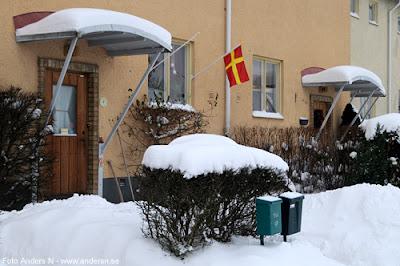 Olofström, Blekinge, snö, vinter, snow, winter, skånsk flagga, skåne, skånes, blekinges, skåneland, skånelands, snapphane, snapphanar, foto anders n