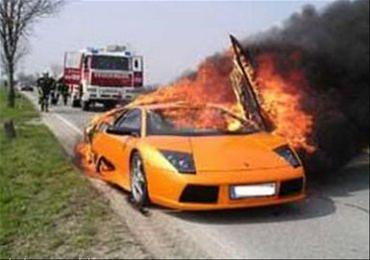 Lamborgini on fire