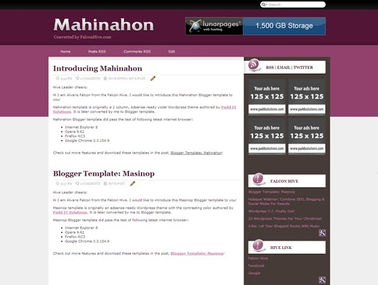 2 column xml blogger template mahinahon veerublog for Xml templates for blogger free download