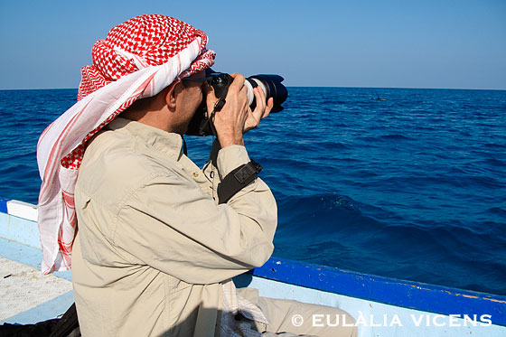 Oriol Alamany fotografiando delfines desde una barca Isla de Socotra Yemen