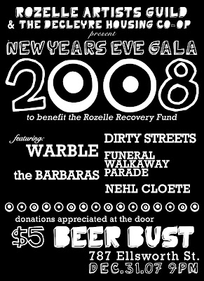 New Year's Eve Benefit for Rozelle Arts Guild and DeCleyre House Cooperative, Memphis