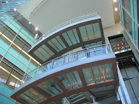 The cantilevered stairwell in the Library lobby