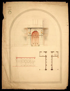 Gate, architectural drawing of the Beaux-Arts school in Paris.