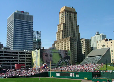 C&I Bank Building on the right, overlooking AutoZone Park