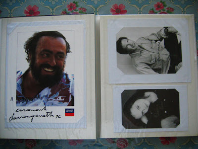 Luciano Pavarotti (left), Harrison Ford (top-right), and Christina Ricci (bottom-right)