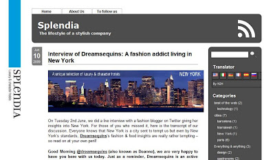Screenshot of My Interview on Splendia Hotels blog @ Dream Sequins
