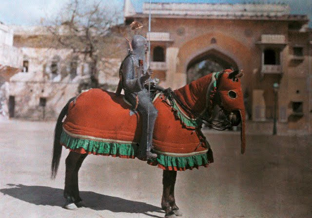 A warrior is ready for a tournament in Jaipur - 1929