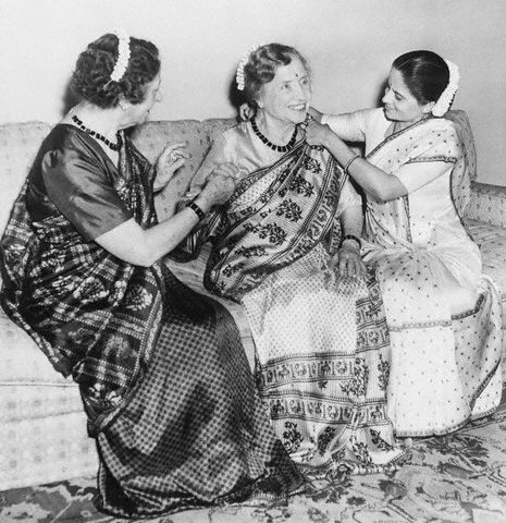 American Author and Political Activist Helen Keller in Sari - 1955