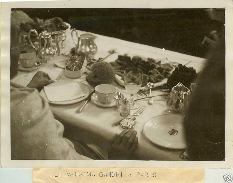 Mahatma Gandhi Eating Breakfast in Paris - 1930